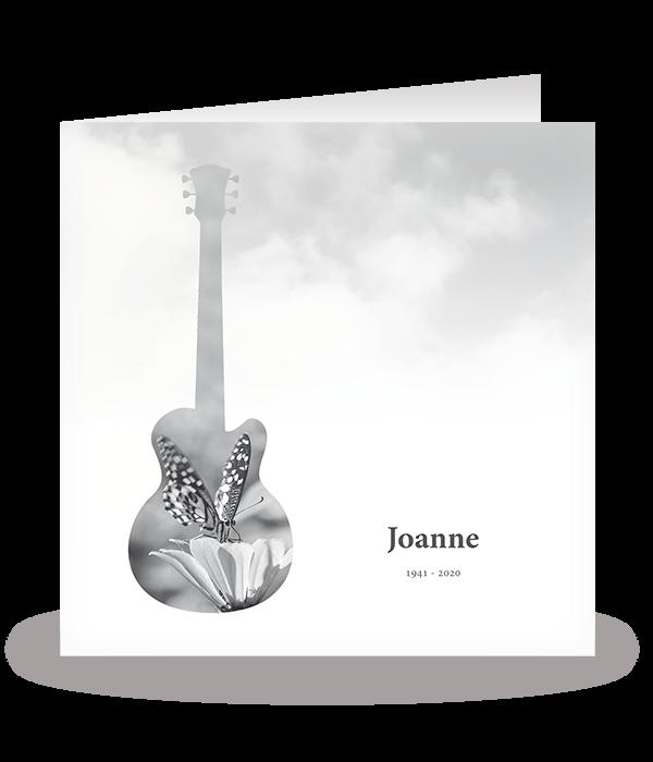 Kaart met vlinder in gitaar 1
