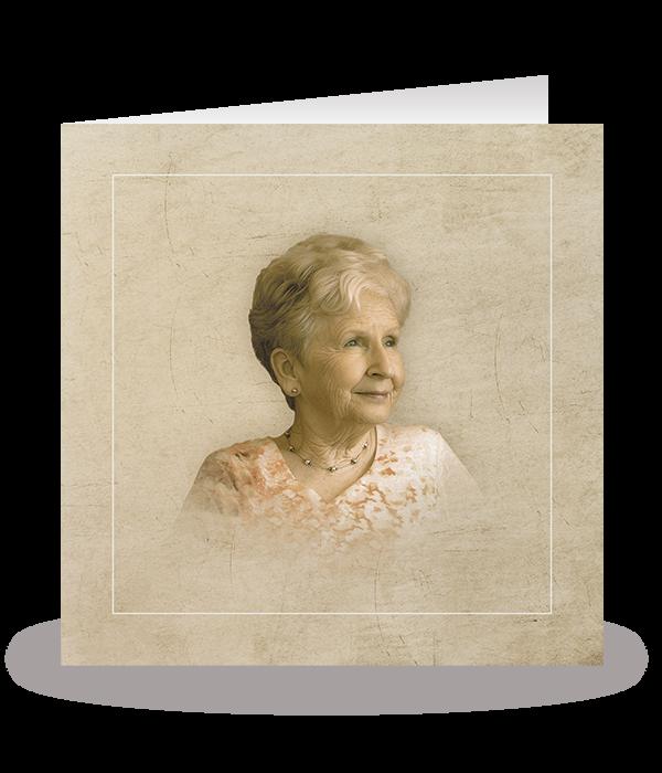 Kaart met portret in retrostijl 1
