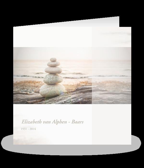Rouwkaart stenen op het strand 1